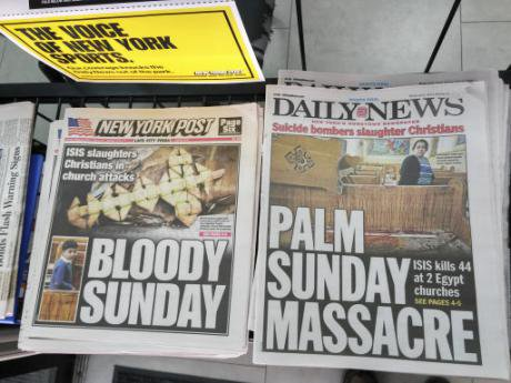 Headlines report on April bombings.