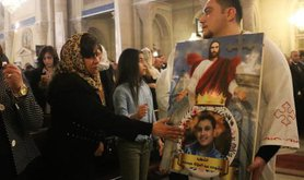 A Coptic mass following recent church bombings.