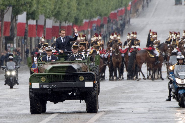 Emmanuel Macron in Champs Elysees military ceremony after his swearing in. May, 2017.