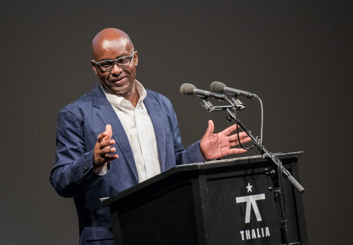 Cameroonian historian and philosopher Achille Mbembe speaking at the Thalia Theater in Hamburg, Germany, 25 May 2017.