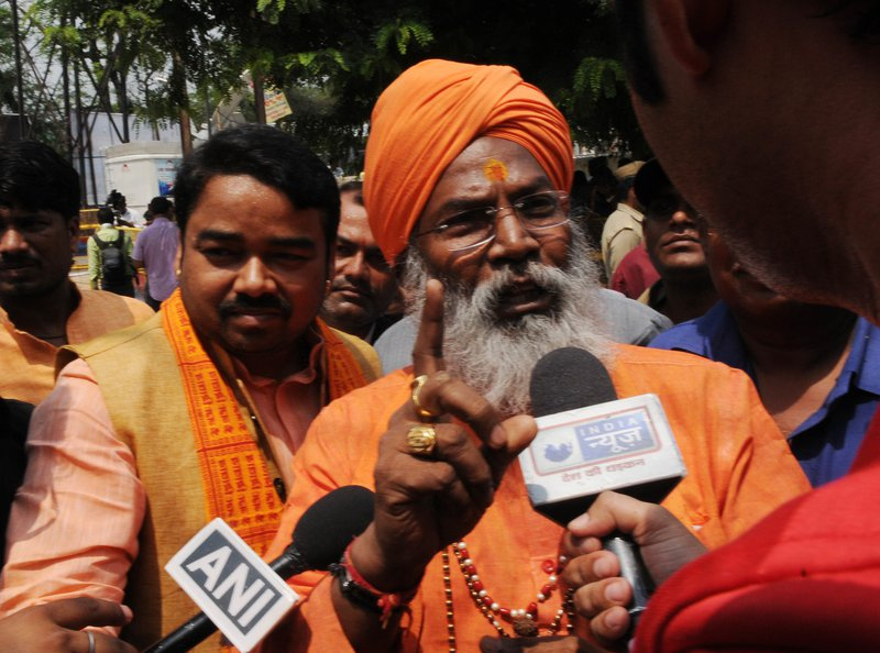 Lucknow, India – BJP MP Sakshi Maharaj after getting bail, May 2017.