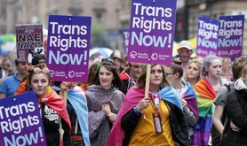 Supporters of trans rights at a Pride parade in Scotland last year.