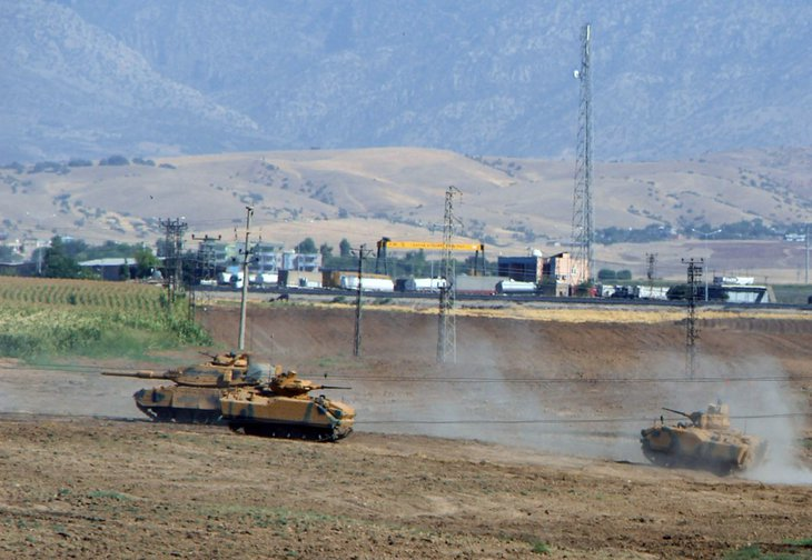 Turkish tanks in a military drill in Sirnak, Turkey, September, 2017