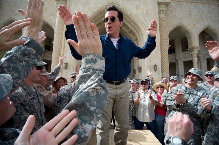 Stephen Colbert Greets U.S. Soldiers in Iraq during Operation Iraqi Stephen Tour, 2009.