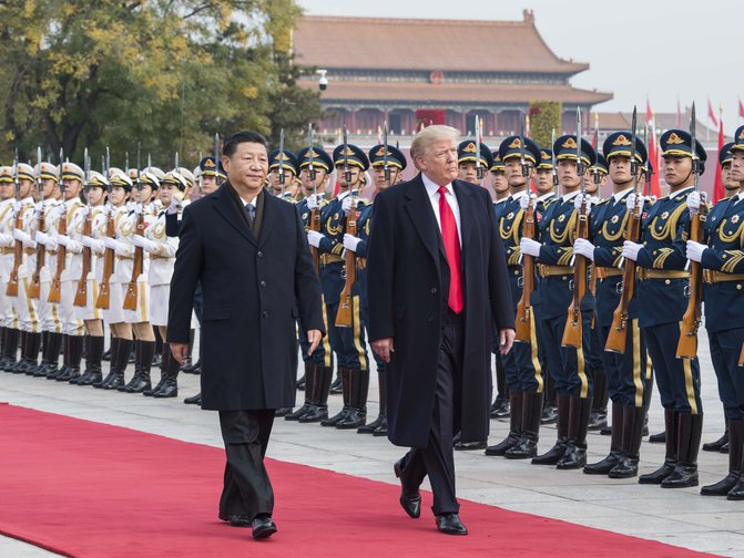 US President Donald Trump meets Chinese leader Xi Jinping in China in 2017.
