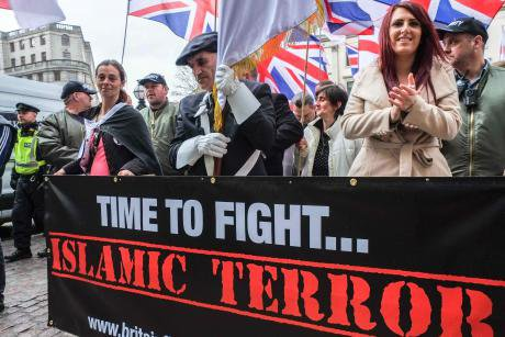 Jayda Fransen (right), deputy leader of of far right group Britain First, 2017.