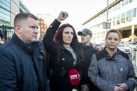 Deputy leader of Britain First Jayda Fransen (centre) and Jolene Bunting (right).