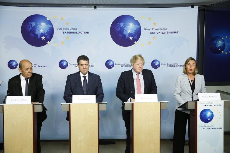 European foreign ministers from Germany, France and Britain, join Federica Mogherini in reasserting their commitments to Iran's nuclear deal, 2018.