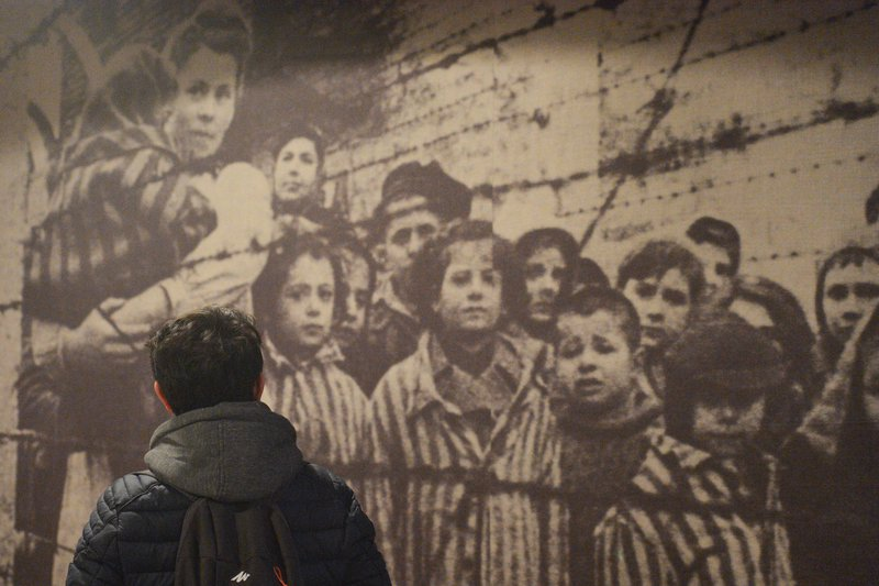 A person views an exhibition inside the Auschwitz camp