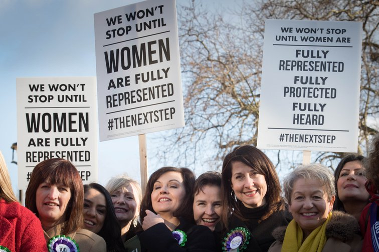 Women MPs campaigning for better representation in parliament, 2018.