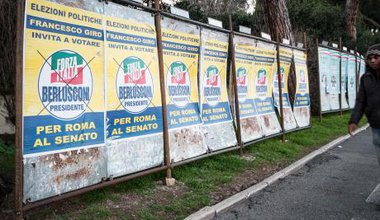 Electoral posters in Rome ahead of the vote on 4 March.