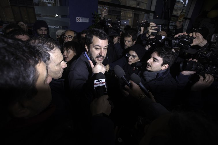 Matteo Salvini, leader of the Lega, during an election meeting in Palermo, February 2019.