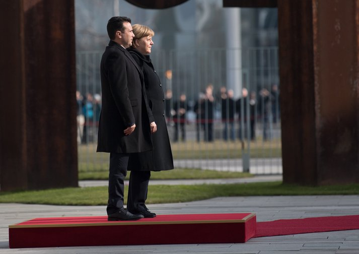 Zoran Zaev greeted with military honours by German Chancellor Angela Merkel in Berlin, February 2018.