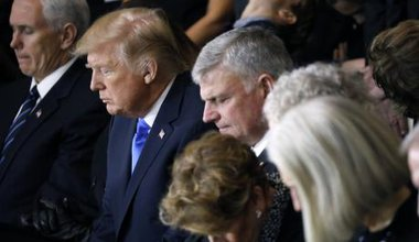 Donald Trump at a service commemorating the late evangelist Billy Graham at the U.S. Capitol in Washington.