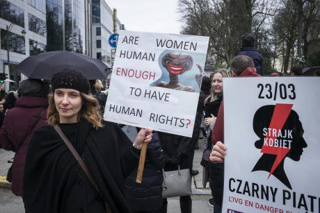 Protest in Brussels against the tightening of the abortion law in Poland, March 2018.