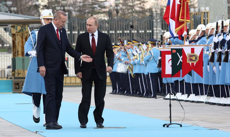 Erdogan welcomes Putin to Ankara, Turkey, April, 2018.