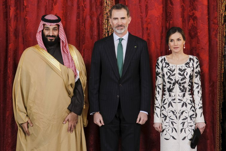 King Felipe VI and Queen Letizia of Spain welcome Saudi Arabia's Crown Prince MBS to the Royal Palace, Madrid in April, 2018.
