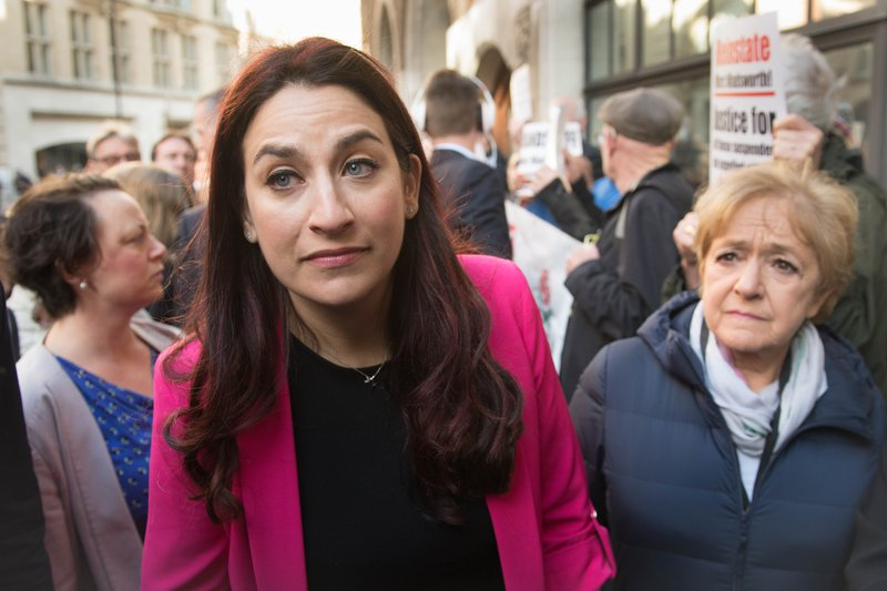 Luciana Berger and Margaret Hodge demonstrating outside a Labour party disciplinary hearing, April 25, 2018.