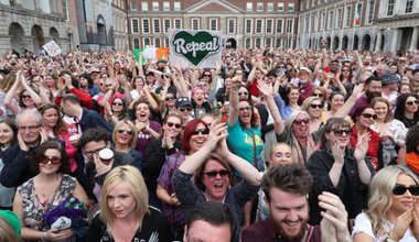 Voters celebrate the referendum result in Dublin, on 26 May 2018.