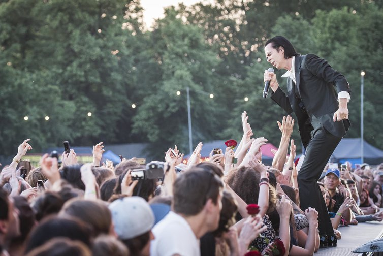 Nick Cave and The Bad Seeds perform at Victoria Park, London in June, 2018.