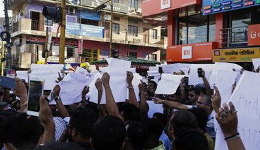 Protests over the death of two young men who were lynched because of rumours they were child lifters