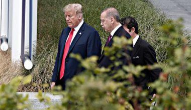 Donald J. Trump and Recep Tayyip Erdogan at a meeting of NATO Heads of State