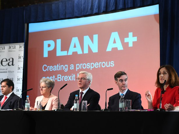 Shanker Singham, Gisela Stuart, David Davis MP, Jacob Rees-Mogg MP and Theresa Villiers MP attend the launch of the Institute of Economic Affairs Plan A+ research paper, in central London, 24-Sep-2018