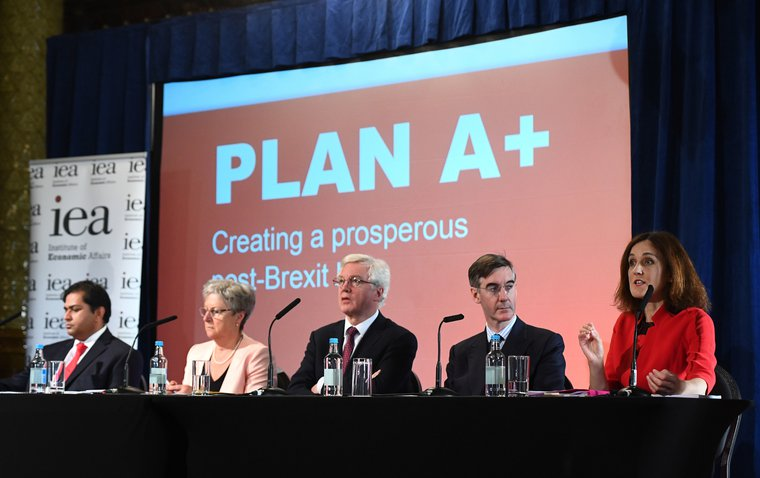 (Left to right) Shanker Singham, Gisela Stuart, David Davis MP, Jacob Rees-Mogg MP and Theresa Villiers MP attend the launch of the Institute of Economic Affairs latest Brexit research paper, in central London.