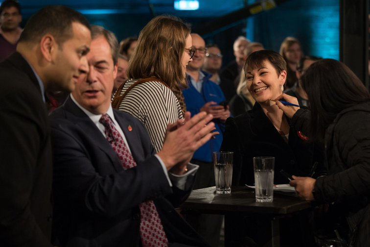 Nigel Farage and Green Party MP Caroline Lucas at the Channel 4 Brexit debate, November 2018.