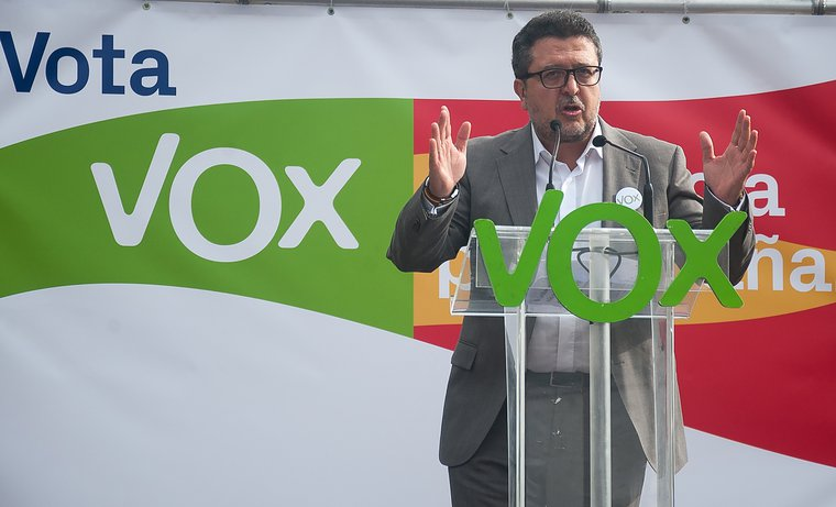 Javier Serrano, from the far right VOX party campaigning in regional elections in Andalusia, November 2018.