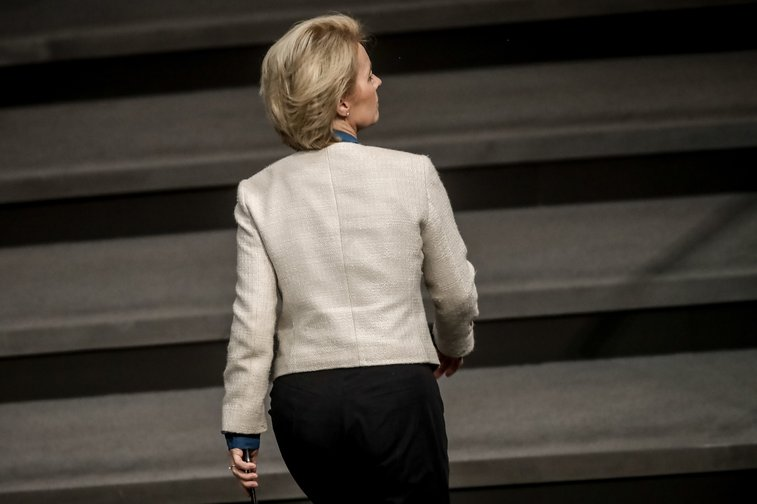 Ursula von der Leyen (formerly CDU Defence Minister), leaving plenary session of the Bundestag in November 2018.