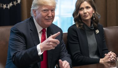 United States President Donald J. Trump meets with governors-elect at the White House. Seated right is Governor- elect Kristi Noem of South Dakota. December 12, 2018
