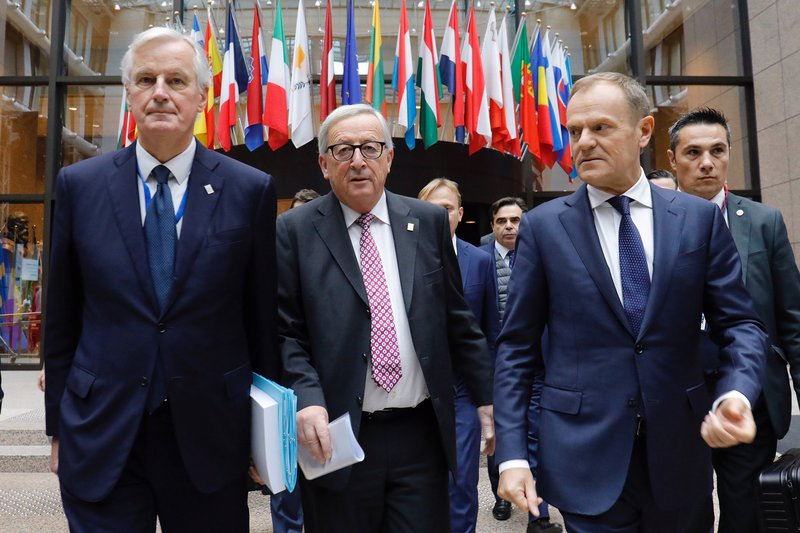 Michel Barnier, Jean-Claude Juncker, and Donald Tusk President of the European Council.