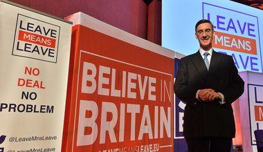 Jacob Rees-Mogg at a Leave Means Leave & Save Brexit rally at the Queen Elizabeth II Conference Centre in central London.