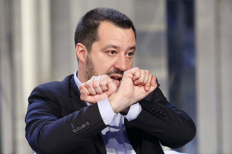 Salvini, the Italian Minister of Internal Affairs, makes the handcuffs sign on the tv show, Porta a Porta, Rome, January 10, 2019.
