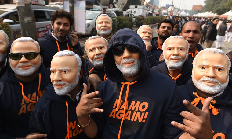 BJP supporters seen wearing PM Narendra Modi masks in New Delhi, January 2019.