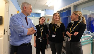 Jeremy Corbyn at a hospital