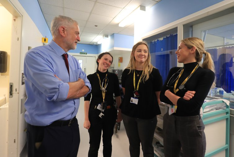 Labour leader Jeremy Corbyn visiting NHS staff, January 2019