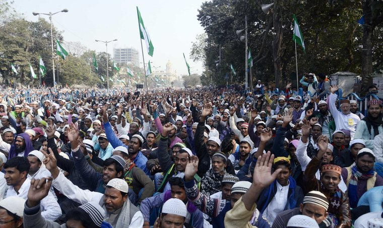 January, 2019 - Kolkata, West Bengal. Muslim rally demanding minimum one job per family for Muslims, dalits, tribal and other backward classes.