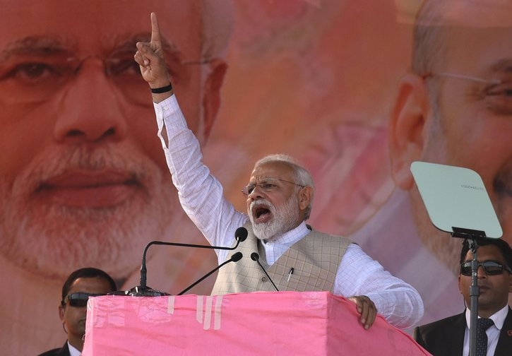 Narendra Modi addresses BJP Save Democracy rally in Durgapur, India, 2019.