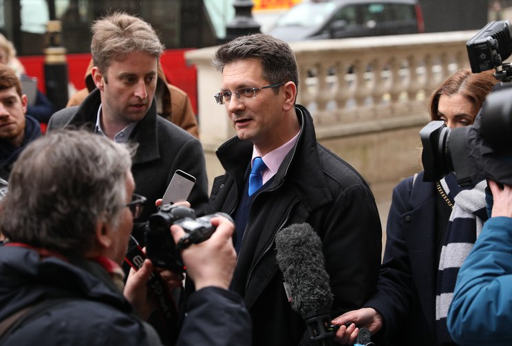 ERG deputy chairman Steve Baker arrives at the Cabinet Office to examine the 'Malthouse Compromise'. February, 2019.