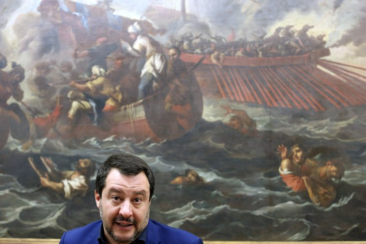 Salvini press conference, February, 2019.