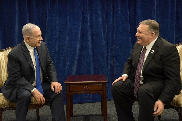 Israeli Prime Minister Benjamin Netanyahu meets with US Secretary of State Mike Pompeo at the Warsaw Middle East Summit, February 2019.