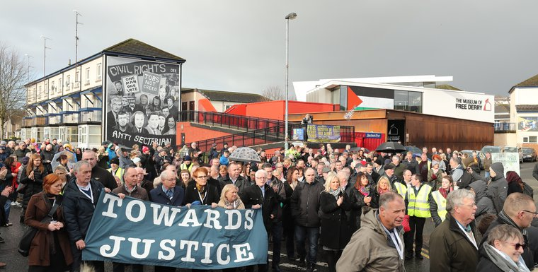 Families of those died on Bloody Sunday marching yesterday
