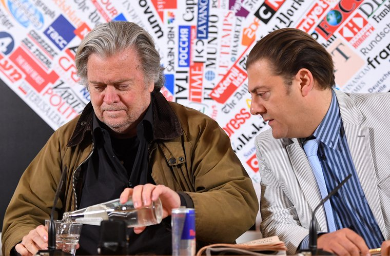 Steve Bannon at a press conference in Rome with Benjamin Harnwell, director of the Dignitatis Humanae Institute (DHI), on March 26, 2019.
