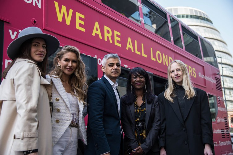 Mayor of London's bus advising European Londoners on their status after Brexit, March 29, 2019.
