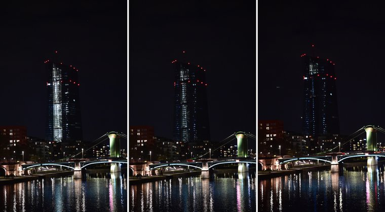 European Central Bank before and after lights are dimmed during the WWF Earth Hour event in Frankfurt, March 30, 2019.