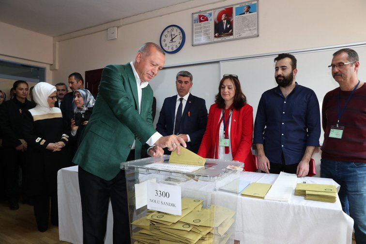 Turkey's President Recep Tayyip Erdogan, leaves the polling booth during municipal elections, in Istanbul, Sunday, March 31, 2019 – later declared invalid.