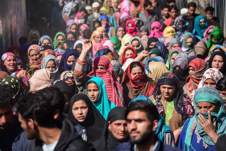 Kashmiri women chanting pro-freedom slogans during a funeral process, April, 2019.