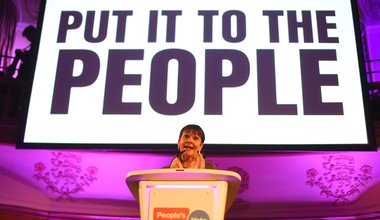Caroline Lucas speaks at the People's Vote Rally in Assembly Hall, Westminster, 9 April 2019